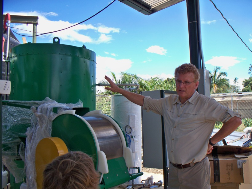 Dr. Reese describing the bio-digestor effluent seperator prior to the inventory
